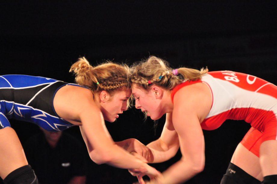 Female wrestlers head to head