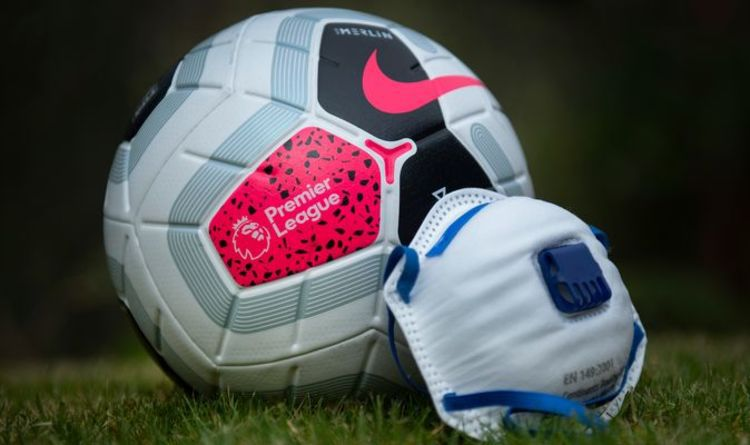 Official ball of EPL with the symbol of 2020, the medical mask