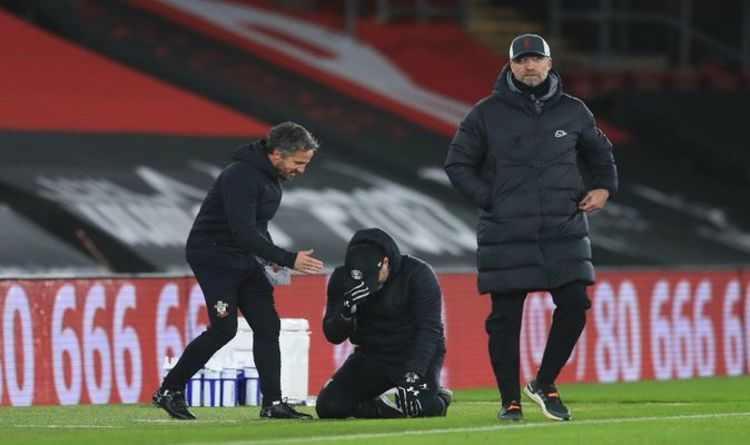 Ralph Hasenhüttl, the head coach of Southampton, emotionally celebrates the whistle