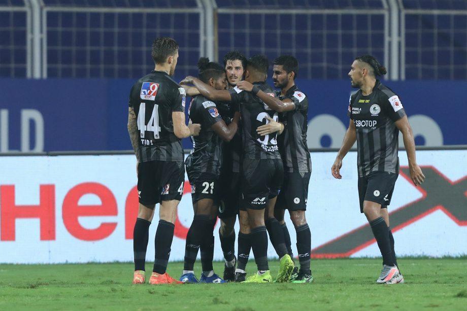 ATK Mohun Bagan players celebrating a goal against FC Goa