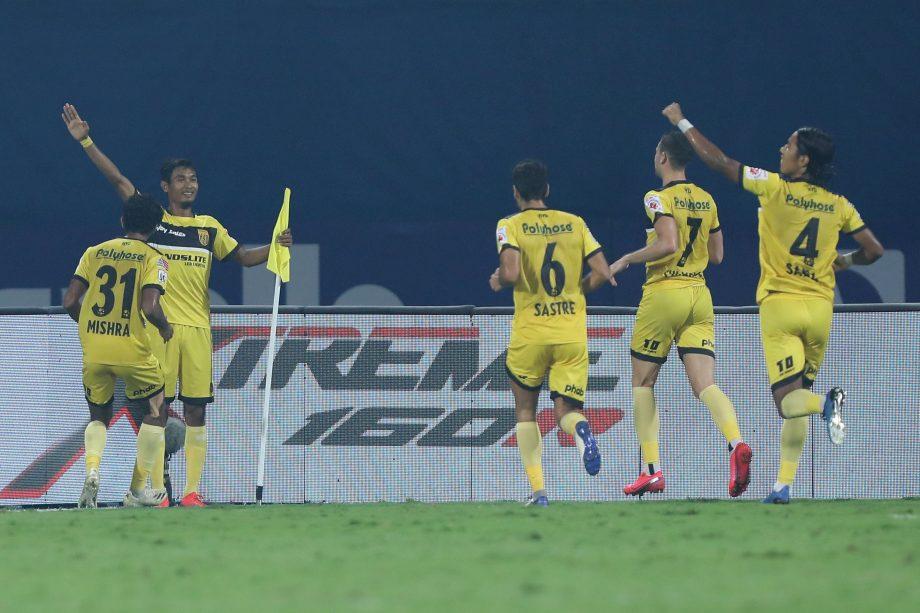Hyderabad FC players celebrating Halicharan Narzary's goal