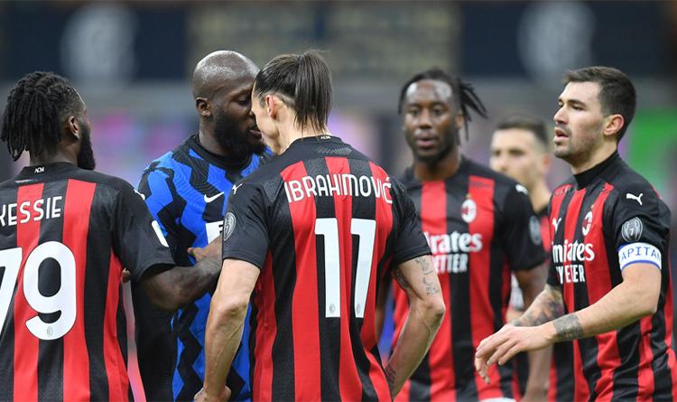 Romelu Lukaku and Zlatan Ibrahimovic during the match