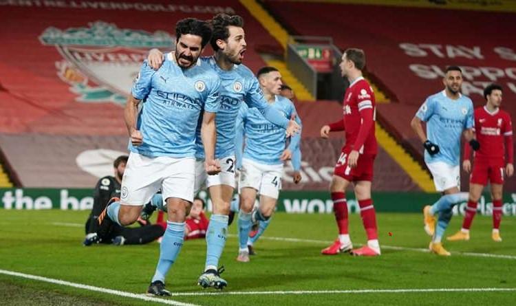 Man City midfielder Ilkay Gundogan and Bernardo Silva