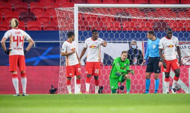 RB Leipzig's defenders Nordi Mukiele and Dayot Upamecano