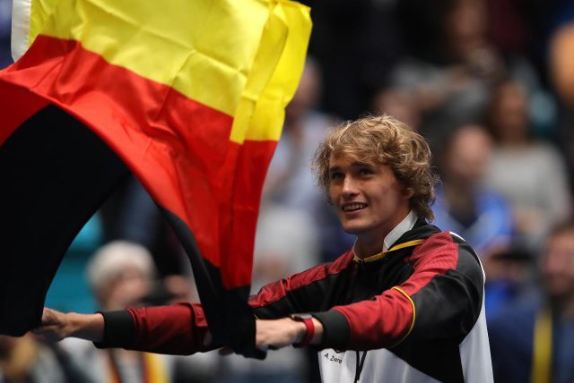 Alexander Zverev with the German flag