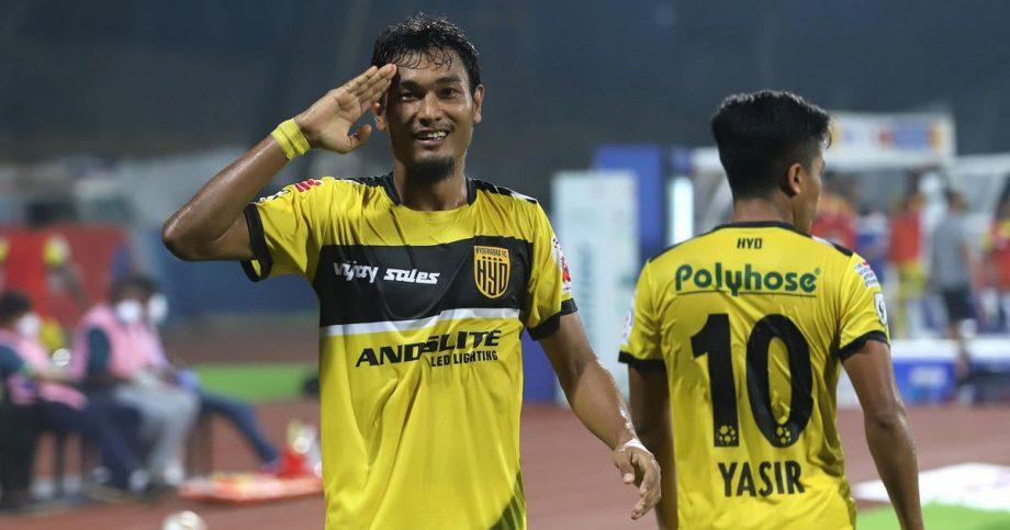 Halicharan Narzary celebrating a goal