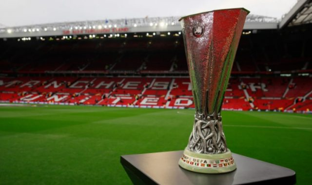 The Europa League trophy at Old Trafford