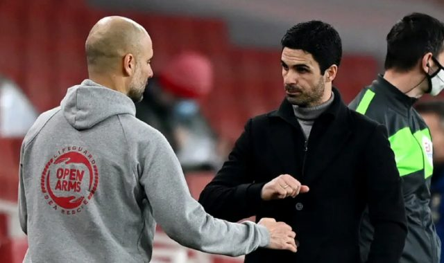 Pep Guardiola and Mikel Arteta after match