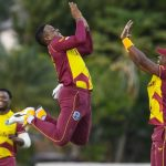 West Indies players celebrate their victory
