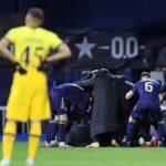Dinamo Zagreb players celebrating getting to the next Europa League round