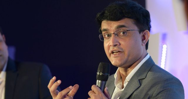Saurav Ganguly with the mic