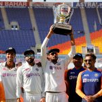 Axar Patel lifts the trophy for India