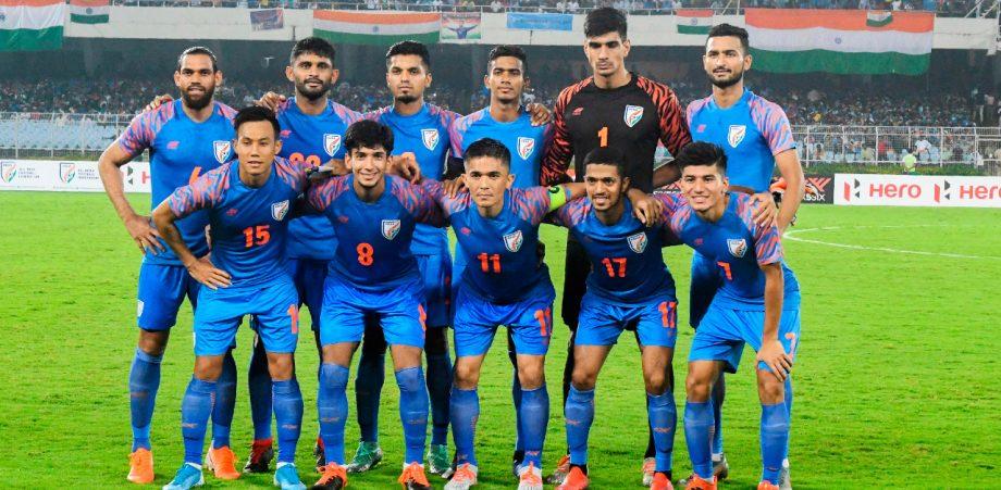 Indian football team posing f
