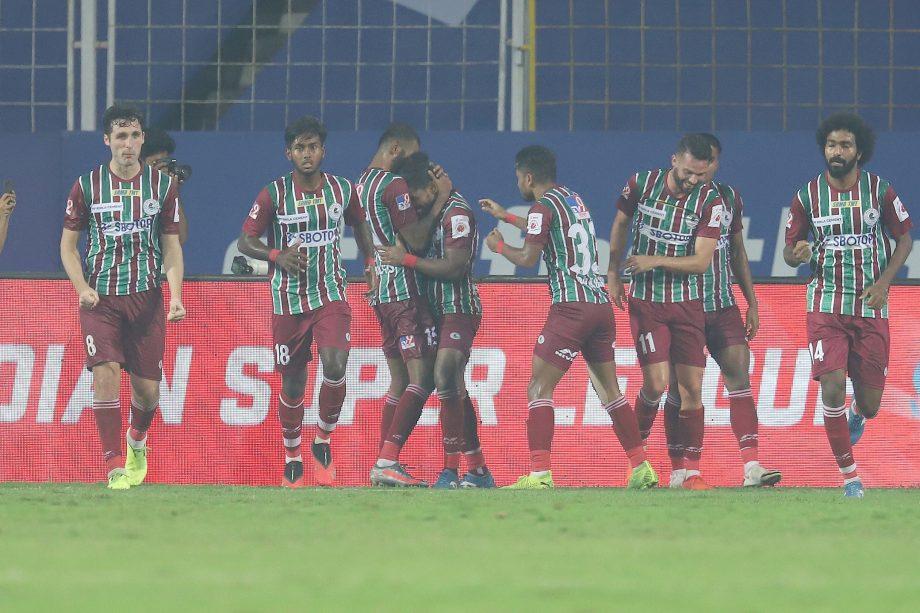 ATK Mohun Bagan players celebrating a goal earlier in the season
