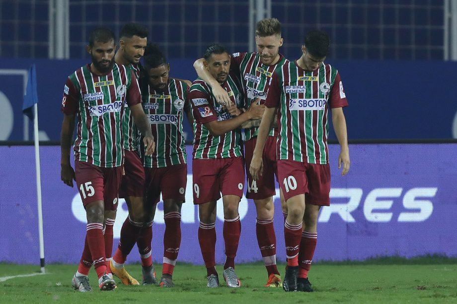 ATK Mohun Bagan players celebrating David Williams' goal earlier in the season