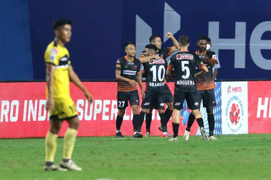 FC Goa players celebrating a goal