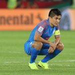 Sunil Chhetri donning the Indian national team jersey