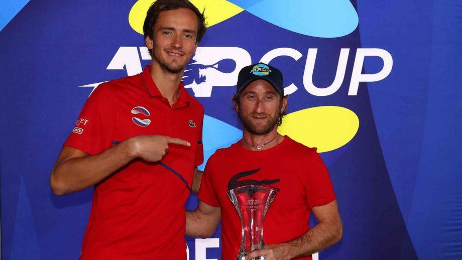 Russian tennis player Daniil Medvedev with his coach Cervara