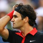 Roger Federer looking at the tribunes during the match