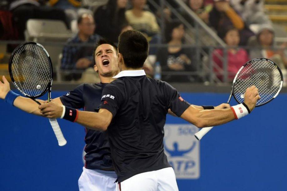 Novak and Djordje on court together