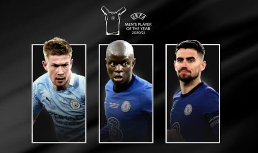 Jorginho, Ngolo Kante (both Chelsea) and Kevin de Bruyne (Manchester City)